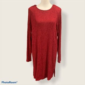 Vintage Liz & Me Red Long Sleeve Dress- Size Small